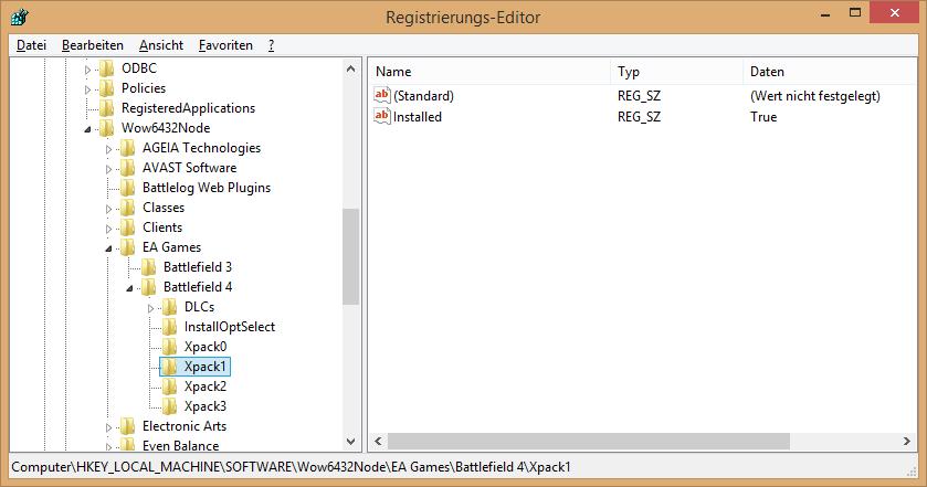 BF4 Addon registration Registry Ansicht