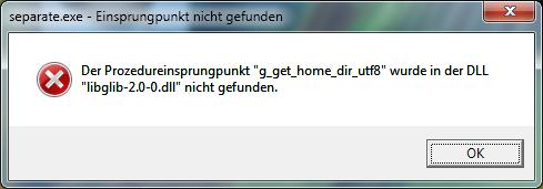 Separate+ g_get_home_dir Fehlermeldung